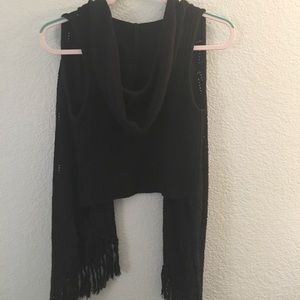 Decree Jackets & Coats - Black hooded vest